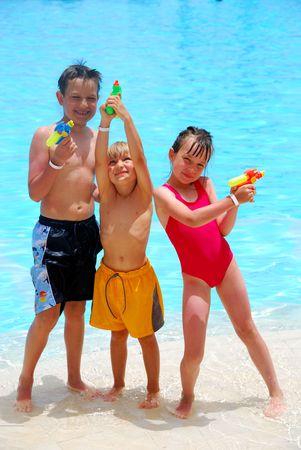kids swimming pool: kids on vacation