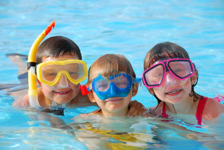 kids playing water: happy divers