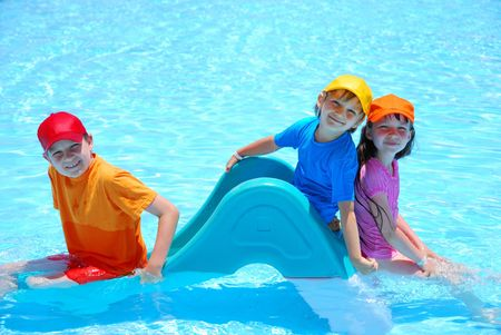 happy kids in pool Stock Photo - 1201707
