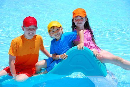 happy kids in pool photo