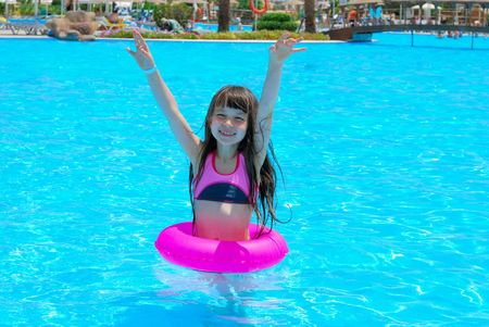 happy girl in pool Stock Photo - 1201768