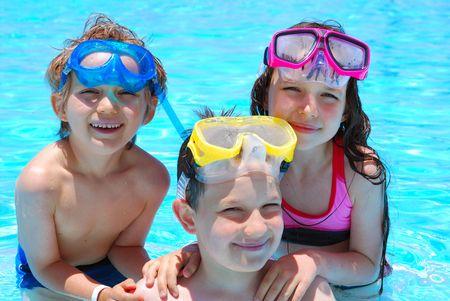 Feliz nadadores  Foto de archivo