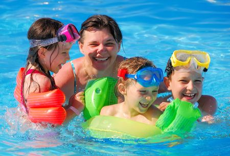 snorkelers: children with mother