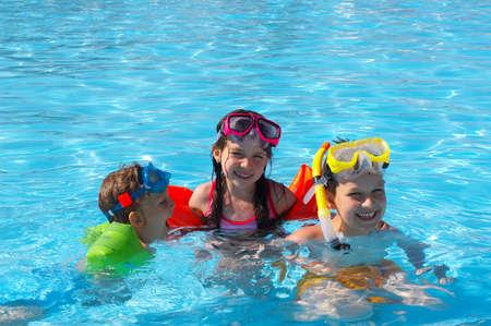 pool fun: swimmers Stock Photo