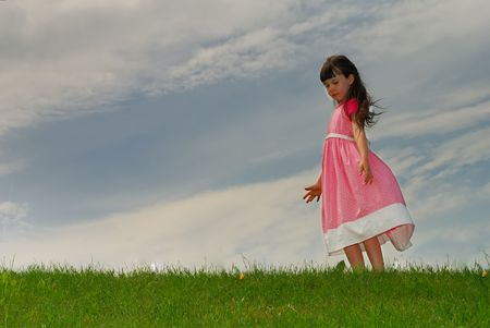hearted: girl on meadow Stock Photo