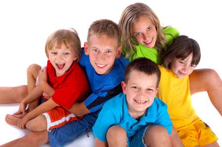 emotion faces: Happy children Stock Photo