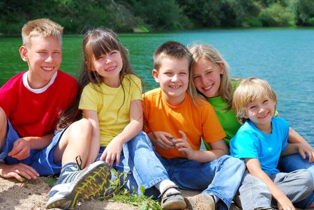 Children at the Lake Stock Photo - 1598897