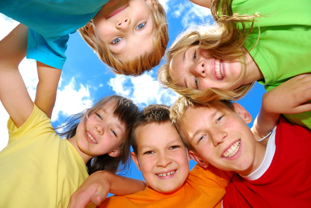 Happy Kids in a Huddle photo