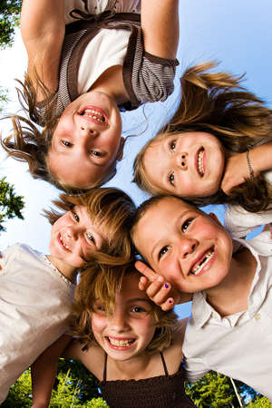Happy Kids looking down Stock Photo - 10909759