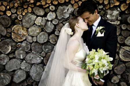 tuxedo man: Wedding Couple Stock Photo