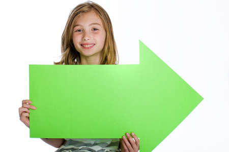 child holding blank arrow sign