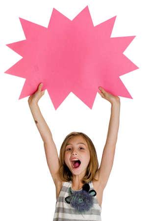 ni�os sosteniendo un cartel: Kid holding signo en blanco