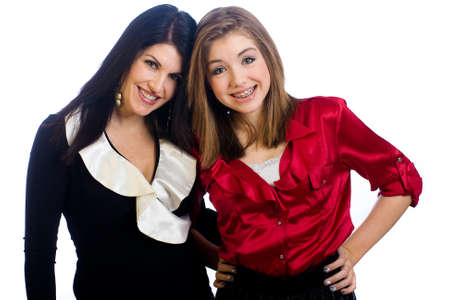 cute braces: Middle aged Mom and teenager daughter