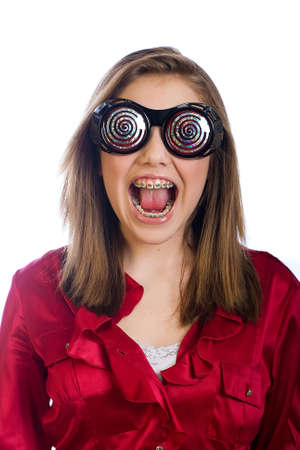 funny glasses: Teenage girl with braces and funny glasses Stock Photo