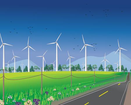 windturbine: Wind turbines for alternative energy Illustration