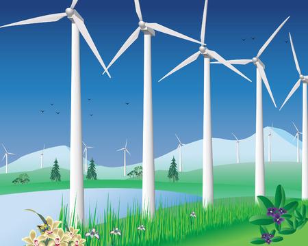 windturbine: Wind turbines vector illustration