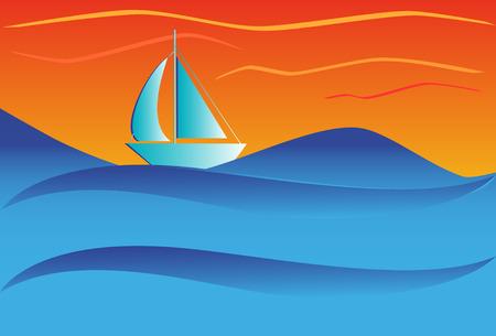Sailboat in ocean Stock Vector - 4531600