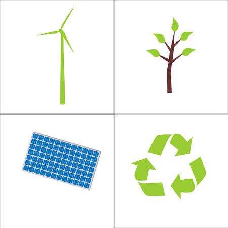 Ecological elements symbols Vector