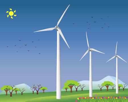 Windmills for alternative energy Vector