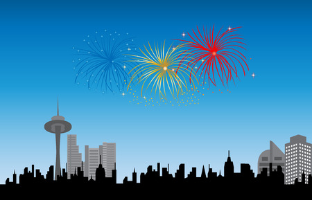 display: Downtown firework display Illustration