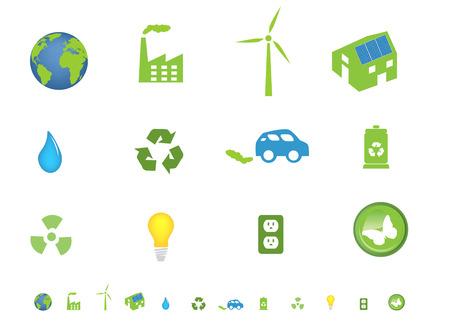 Environment friendly ecological icon set Vector