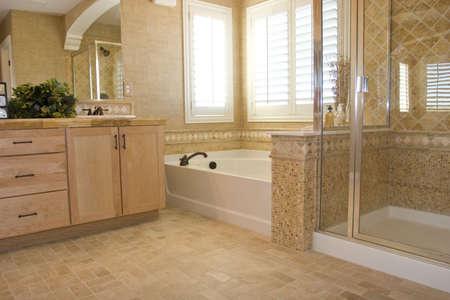 washroom: Moderno ba�o en una casa  Foto de archivo
