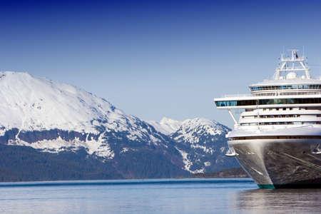 Docked Alaskan cruise ship  Stock Photo