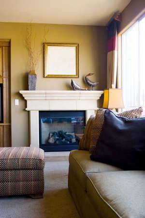 mantel: Modern tastefully decorated living room