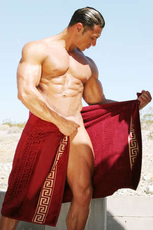 spa towels: Sexy man in spa towels