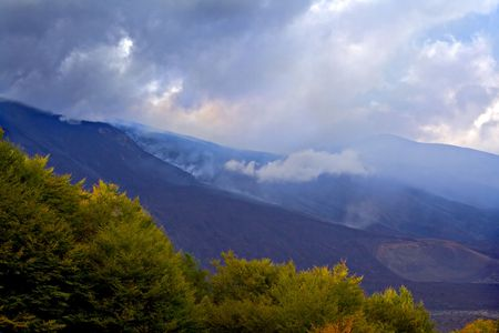 solidify: Suggestive eruption of the Etna volcanic mountain Stock Photo