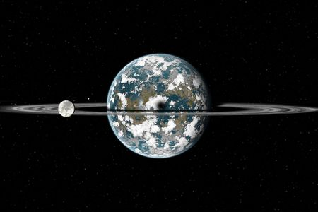 in the reconstruction: Reconstruction of a planet similar of Earth with big ring and two moon. Very high resolution. Stock Photo
