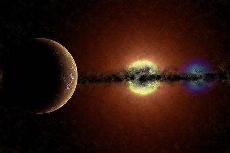 planetarnych: Imaginary systemu planetarnego z czerwonym olbrzymem star białego karła i gwiazdy. Widoczne planety i gęsty dysk pyłu w płaszczyźnie równikowej. Zdjęcie Seryjne