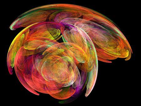 volute: Molti colorato frattale � una fantasiosa immagine generata con il computer Archivio Fotografico