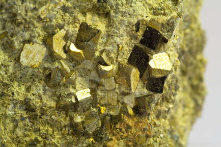 pyrite: Crystals of pyrite in the volcanic stone Stock Photo