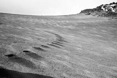 solidify: Imprints in the vulcanic sand, almost lunar landscape Stock Photo