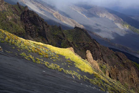 overwhelm: Volcanic rocks on the volcano Etna Stock Photo