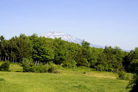 effusion: The Etna landscape, is a suggestive landscape with Etna volcano in background