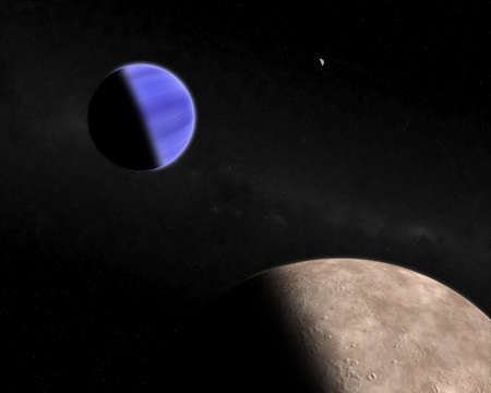 in the reconstruction: This hires illustration is a theoric reconstruction of a extrasolar blue giat planet with moons  Stock Photo