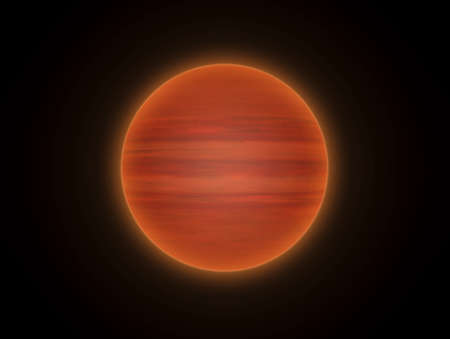 startrek: This hires illustration is a theoric reconstruction of a brown dwarf. Brown dwarfs are sub-stellar objects with a mass below that necessary to maintain hydrogen-burning nuclear fusion reactions in their cores.     They are transitory objects between stars Stock Photo