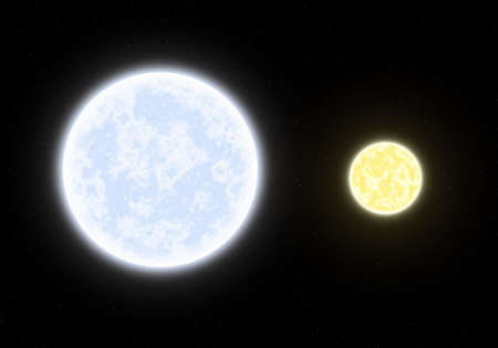 startrek: This hires illustration is a theoric reconstruction of a Binary System between giant blue star and yellow star.