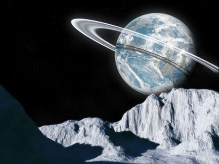 in the reconstruction: This hires illustration is a theoric reconstruction of a landscape of a cold moon in orbit around a planet Earth similar with ring. Very high resolution and very high photorealistic effect. Stock Photo
