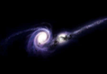 clash: Esta ilustraci�n es una contrata te�ricos gal�ctico impacto entre dos galaxias espirales y el�pticas