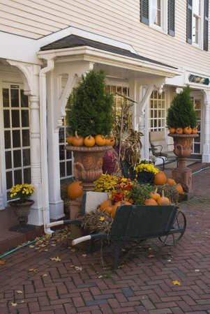 This small antique store has a very nice display of fall items, from pumpkins to hay bails. Stock Photo