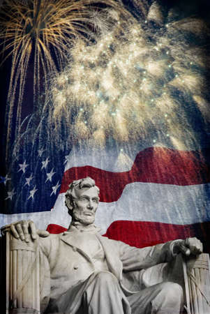 veterans day: Compsite photo of the statue of Abrahma Lincoln at the Lincoln Memorial with a flag and fireworks in the background  Nice patriotic image for Independence Day, Memorial Day, Veterans Day and Presidnets Day  Stock Photo