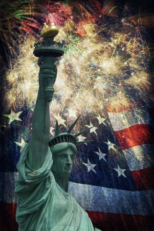 u s: Composite photo of the statue of Liberty with a flag and fireworks in the background  Given a grunge overlay for a nice aged effect   Nice patriotic image for Independence Day, Memorial Day, Veterans Day and Presidents Day  Stock Photo