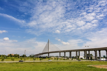 skyway: A view  of the Veterans Glass City Skyway Bridge Stock Photo