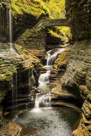 dozens: Watkins Glen waterfalls in New York during fall  A beautiful 1 75 mile long gorge with dozens of waterfalls