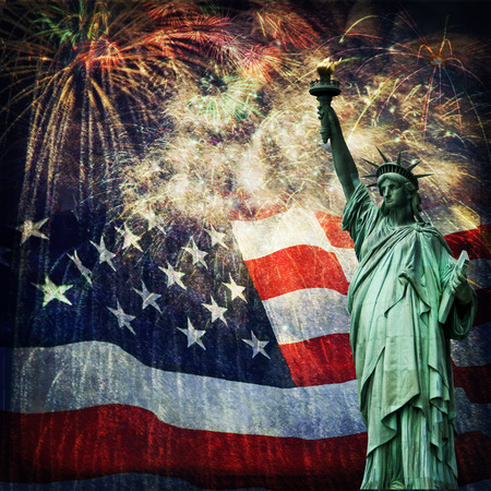 Composite photo of the statue of Liberty with a flag and fireworks in the background  Given a grunge overlay for a nice aged effect   Nice patriotic image for Independence Day, Memorial Day, Veterans Day and Presidents Day  photo