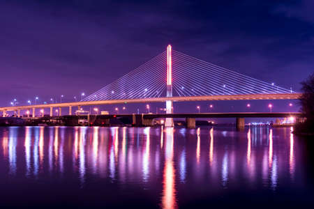 skyway: Night view of a suspension bridge  Stock Photo