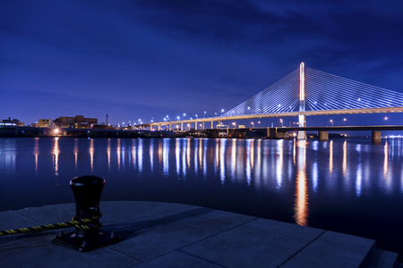 ohio: Night view of a suspension bridge in Toledo Ohio
